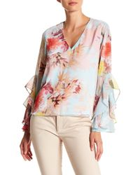 Vince Camuto - Faded Bloom Ruffle Sleeve Blouse - Lyst