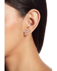 Shashi - 18k White Gold Plated Sterling Silver Prong Set Marquise Cut Crystal Ear Climbers - Lyst