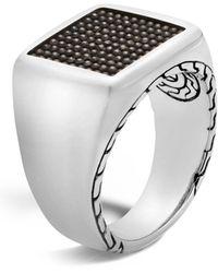 John Hardy Sterling Silver Classic Chain Jawan Signet Ring - Black
