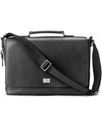 Shinola Leather Messenger Briefcase - Black