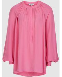 Reiss Gwen Plain Blouson Sleeve Blouse - Pink