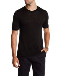 Vince - Ribbed Trim Short Sleeve Linen Sweatshirt - Lyst