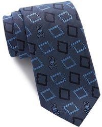 Psycho Bunny Silk Modern Diamond Tie - Blue
