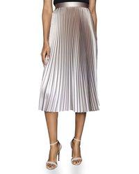 Reiss Betty Metallic Pleated Skirt - Pink
