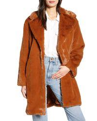 Something Navy Faux Fur Teddy Coat - Brown