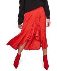 Astr Nova Floral Asymmetrical Skirt - Red
