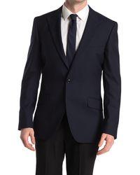Reiss Enzo Texture Button Blazer - Blue