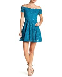 Jump - Off-the-shoulder Sequin Lace Fit & Flare Dress - Lyst