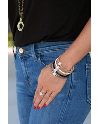 Liza Schwartz Bedazzle Pave Crystal Charm Braided Leather Bracelet - Gray