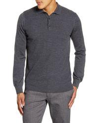 Brax Pierre Honeycomb Merino Wool Long Sleeve Polo - Gray
