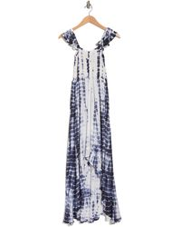 Boho Me Tie-dye Off-the-shoulder Smocked Cover-up High/low Maxi Dress - Blue
