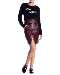 Romeo and Juliet Couture - Belted Zip Faux Leather Skirt - Lyst
