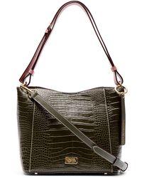 Frances Valentine June Croc Embossed Leather Hobo Bag In Olive/pink At Nordstrom Rack - Multicolor