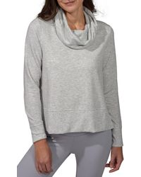 90 Degrees Terry Brushed Long Sleeve Cropped Cow Neck Top - Gray