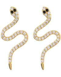 Adornia 14k Gold Plated Sterling Silver Swarovski Crystal Snake Stud Earrings - Yellow