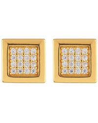 Argento Vivo - 18k Gold Plated Sterling Silver Pave Square Stud Earrings - Lyst