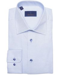 David Donahue Check Print Long Sleeve Regular Fit Shirt - Blue