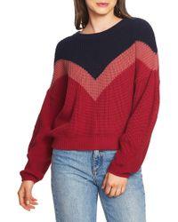 1.STATE - Chevron Front Crew Neck Sweater (lush Berry) Women's Sweater - Lyst