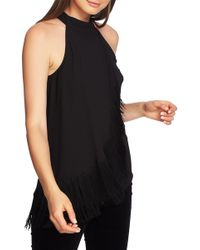 1.STATE Sleeveless Asymmetrical Fringe Tank Top - Black