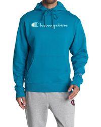 Champion Powerblend Graphic Drawstring Hoodie - Blue