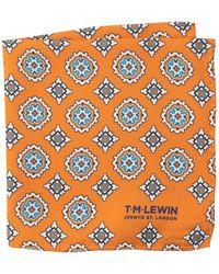 T.M.Lewin Light Blue Basket Weave Silk Pocket Square