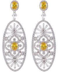 CZ by Kenneth Jay Lane - Multi Cz Elongated Oval Floral Dangle Earrings - Lyst