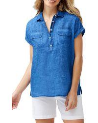 Tommy Bahama Sea Spray Short Sleeve Linen Shirt - Blue