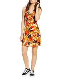 Billabong Cheery Kisses Tie Ruched Minidress - Orange
