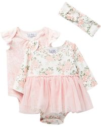 Nicole Miller - Floral Skirted Bodysuit, Lace Overlay Bodysuit & Headband Set (baby Girls) - Lyst