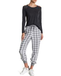 Chaser | Plaid Silk Blend Mixed Media Jogger | Lyst