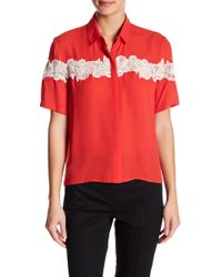 The Kooples - Contrast Lace Button Shirt - Lyst