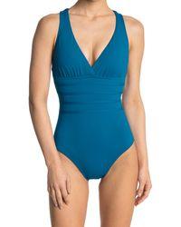 La Blanca Sketched Bandeau One-piece Swimsuit - Blue