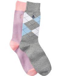 Original Penguin Assorted Printed Crew Socks - Pack Of 2 - Gray
