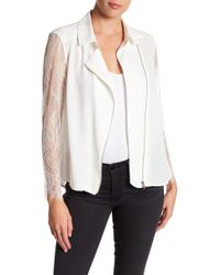 The Kooples - Crepe & Lace Zip-up Dull Matte Top - Lyst