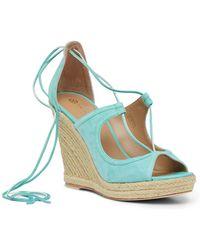 Trina Turk Lace-up Wedge Sandal - Blue