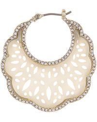 Marchesa Pave Crystal Mother-of-pearl Scalloped Hoop Earrings - Metallic