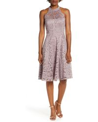 Eliza J Halter Neck Lace Fit And Flare Dress - Grey
