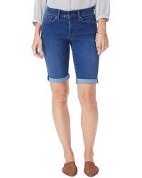 NYDJ Briella Rolled Denim Bermuda Shorts - Blue