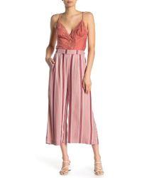 Eci Cropped Striped Genie Pants - Pink