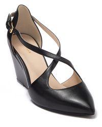 Cole Haan Emberlee Crossover Leather Wedge Heel - Black