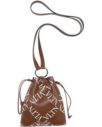 Valentino Leather Neck Pouch In Cuir/bianco At Nordstrom Rack - Brown