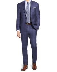 Hart Schaffner Marx Navy Check Two Button Notch Lapel New York Fit Suit - Blue