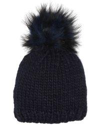 Echo Faux Fur Pompom Chunky Knit Beanie - Blue