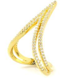 Charlene K 14k Gold Plated Sterling Silver Cz Chevron Ring - Metallic