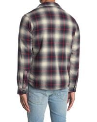 Tailor Vintage Faux Shearling Lined Plaid Shirt Jacket - Gray