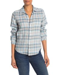 Frank & Eileen Barry Linen Blend Plaid Shirt - Blue