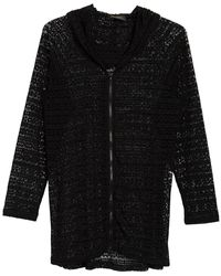 Athena Crochet Knit Cover-up Hoodie - Black