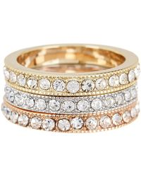 Ariella Collection - Crystal Stack Rings - Set Of 3 - Lyst