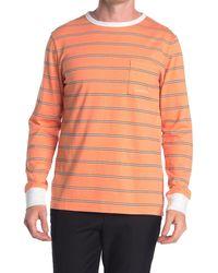 Saturdays NYC James Striped Long Sleeve T-shirt - Orange