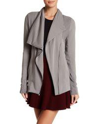 Heather by Bordeaux Fleece Moto Jacket - Gray
